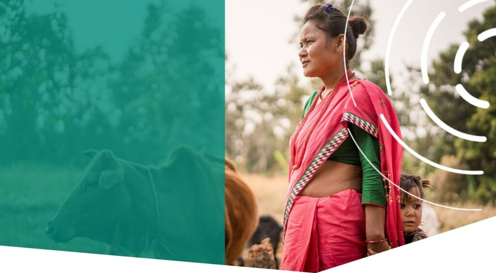 Woman in sari outside